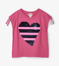 Load image into Gallery viewer, Flip Sequin Heart Cinched Shoulder Tee