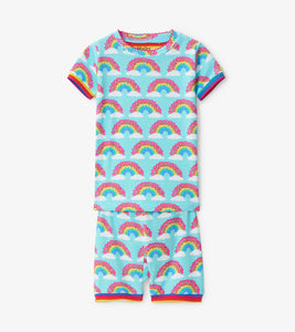 Magical Rainbows Organic Cotton Short Pajama Set - Aqua Splash
