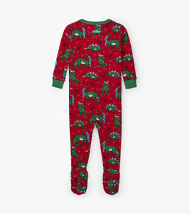 Festive Dinos Organic Cotton Footed Coverall