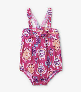 Pretty Sea Turtles Baby ruffle Swimsuit
