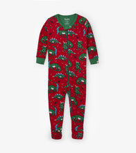 Load image into Gallery viewer, Festive Dinos Organic Cotton Footed Coverall
