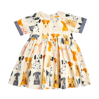 Olive Dress - Multi Watercolor Dogs