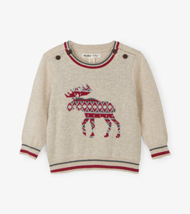 Argyle Moose Baby Sweater