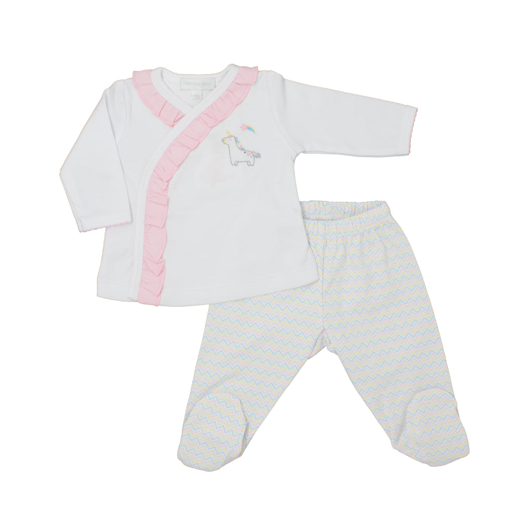 Sweet Unicorn Emb Ruffle X-Tee Footed Pant Set PK