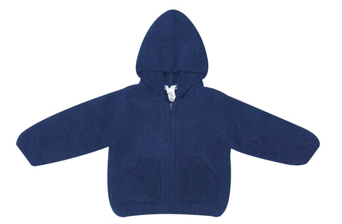 Navy Hooded Chenille Jacket