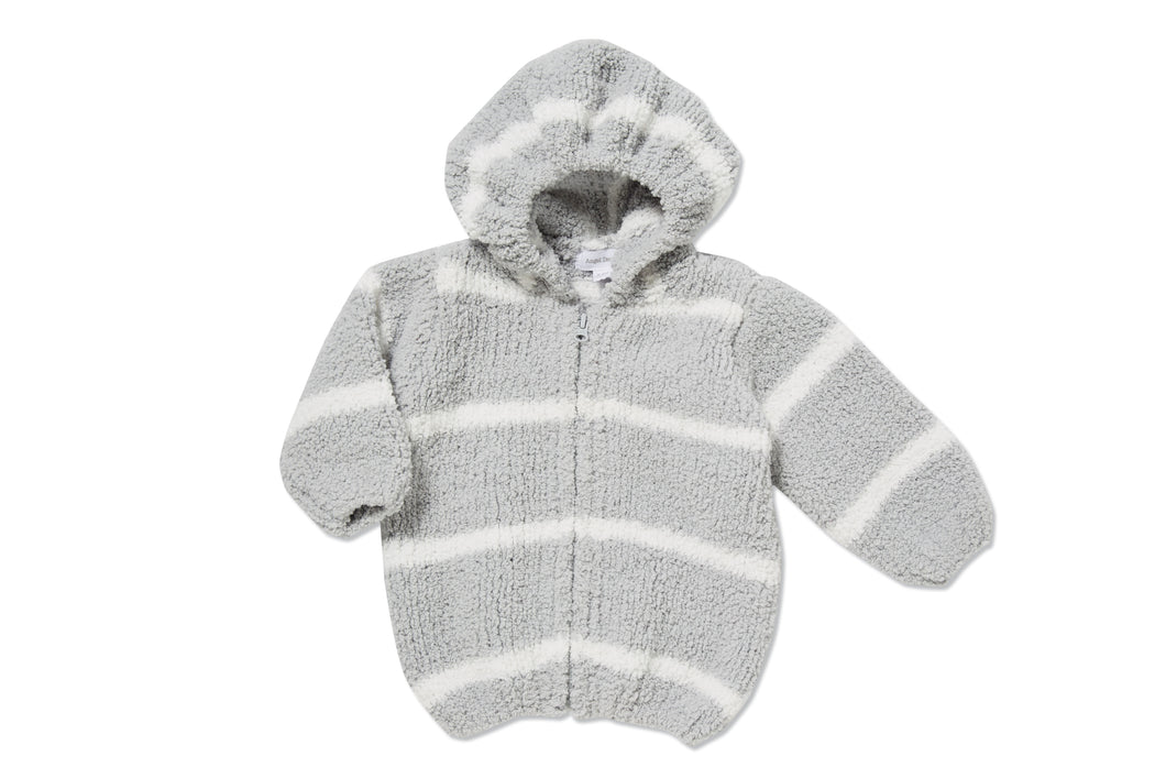 Grey & Ivory Hooded Chenille Jacket
