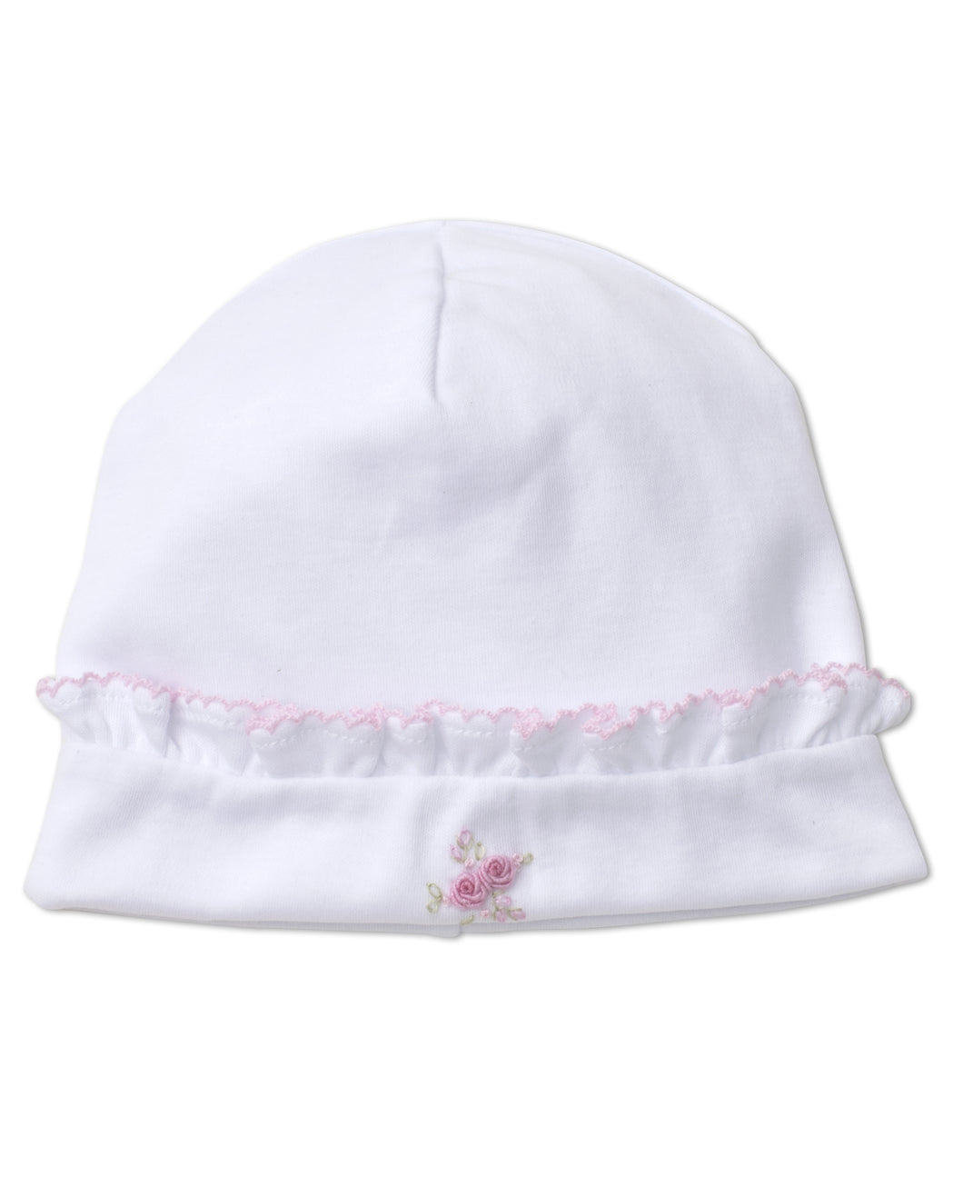 Winter Rosebuds Hat with Hand Emb - Pink