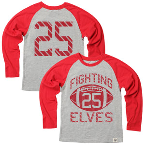 Fighting Elves LS Raglan Cherry