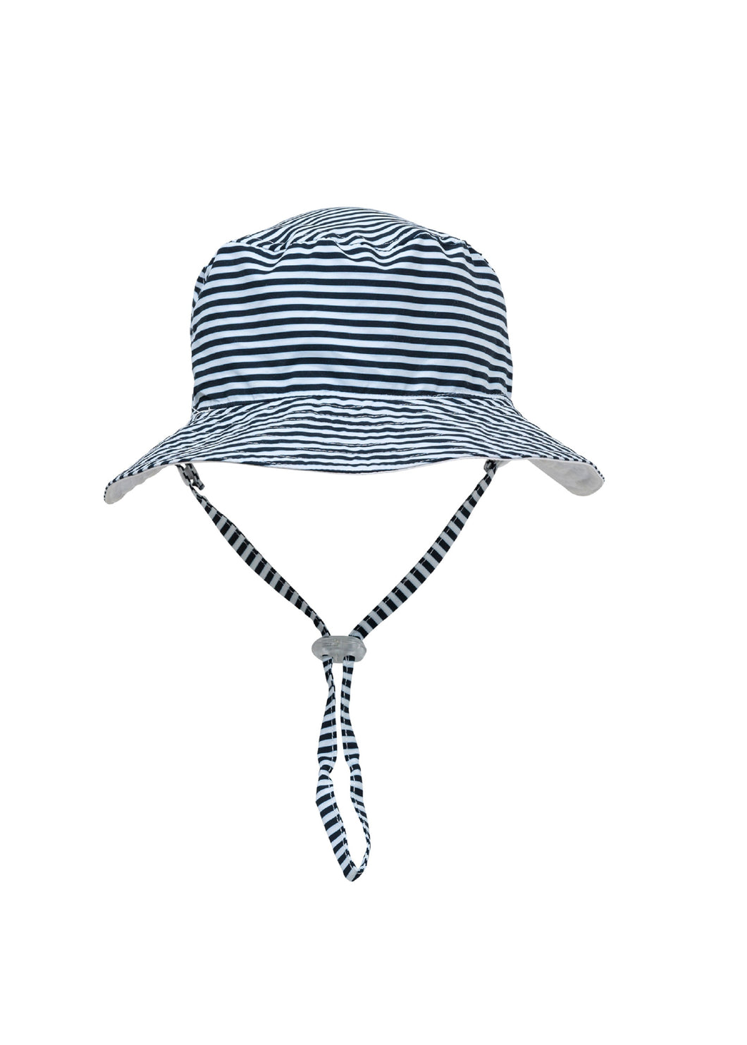White / Navy Stripe Reversible Bucket Hat