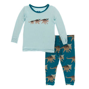 Print Long Sleeve Pajama Set - Heritage Blue Kosmoceratops Family