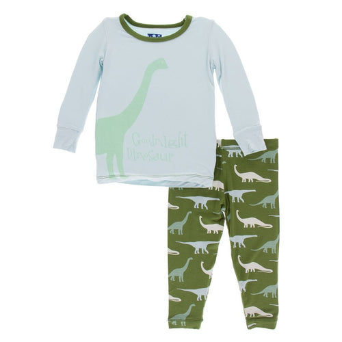 Print Long Sleeve Pajama Set - Moss Goodnight Dinosaur