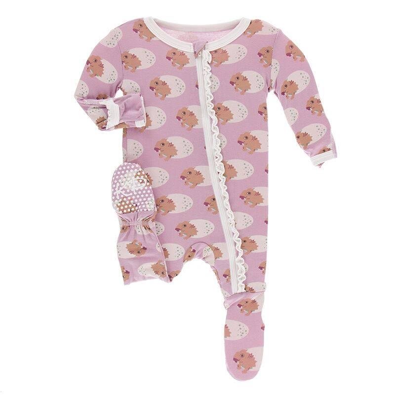 Print Muffin Ruffle Footie with Zipper - Sweet Pea Diictodon