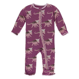 Print Muffin Ruffle Coverall with Zipper - Amethyst Kosmoceratops