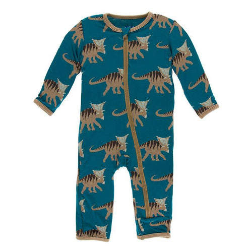 Print Coverall with Zipper - Heritage Blue Kosmoceratops