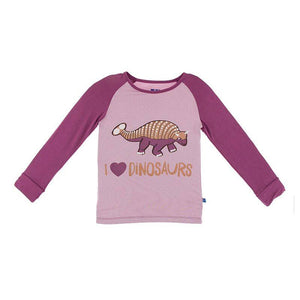 Long Sleeve Piece Print Tailored Fit Raglan Tee - Sweet Pea I Love Dinosaurs