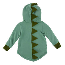 Load image into Gallery viewer, Solid Fleece Zip - Front Dino Hoodie Shore with Moss