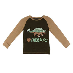 Long Sleeve Piece Print Tailored Fit Raglan Tee - Bark I Love Dinosaurs