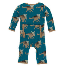 Load image into Gallery viewer, Print Coverall with Zipper - Heritage Blue Kosmoceratops