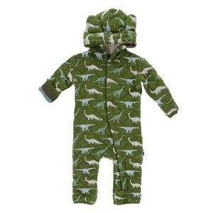 Print Quilted Hoodie Coverall with Sherpa - Lined Hood - Moss Sauropods with Paleontology Fauna Stripe