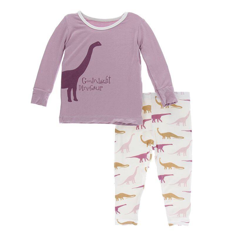 Print Long Sleeve Pajama Set - Natural Goodnight Dinosaur