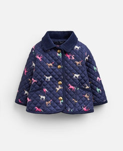 Mabel Quilted Jacket - Navy Horses