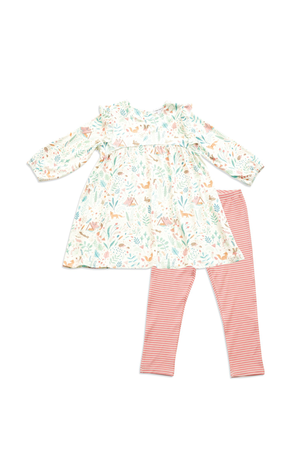 Wood Land Floral Ruffle SLV Dress & Legging