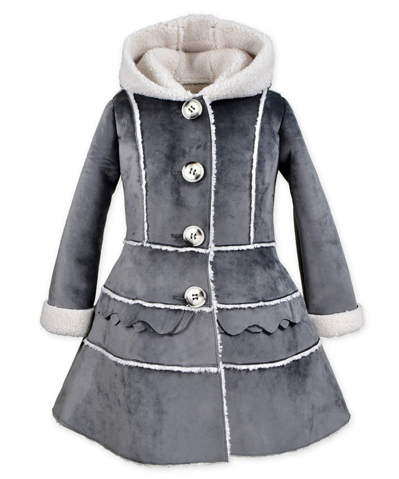 Tiered Ruffle Coat Silky Velvet Grey
