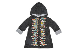 Tapestry Embroidered Coat Sweater - Charcoal