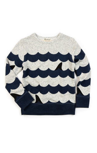 Striped Crewneck - Suns Out, Fins Out - Speckled Cloud Heather