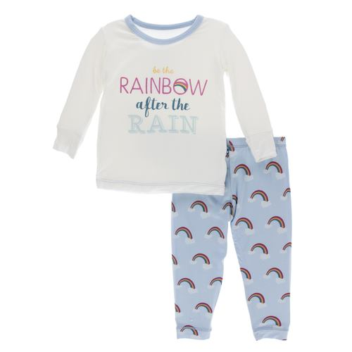 Print Long Sleeve Pajama Set - Pond Rainbow After the Rain