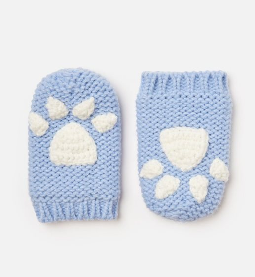 Pawprint Mittens - Icy Blue