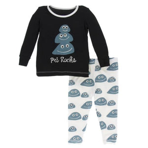 Print Long Sleeve Pajama Set - Midnight Pet Rocks