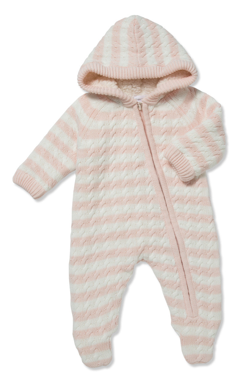 Sherpa Hooded Footie - Pale Pink