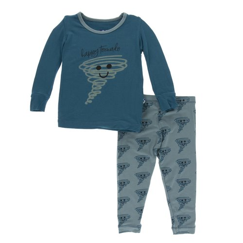 Print Long Sleeve Pajama Set - Heritage Blue Happy Tornado