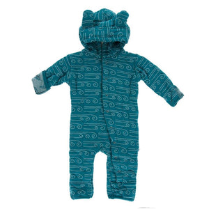 Print Quilted Hoodie Coverall Sherpa-Lined Hood - Dusty Sky Happy Tornado/Heritage Blue Wind