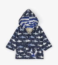 Load image into Gallery viewer, Colour Changing Shark Frenzy Baby Raincoat