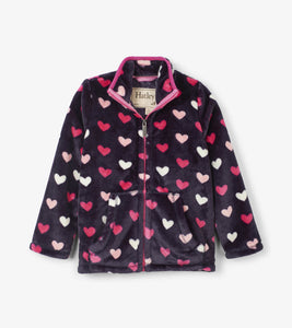 Lovey Hearts Fuzzy Fleece Zip Up