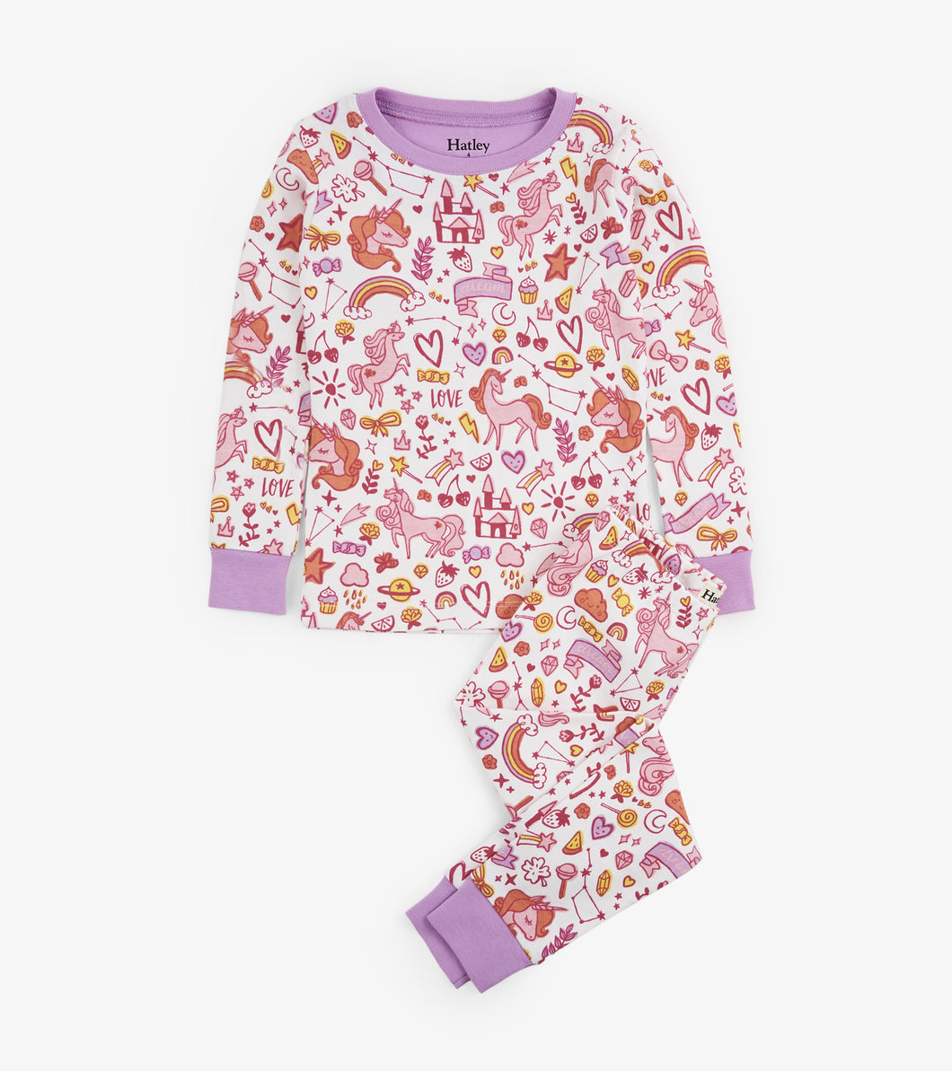 Unicorn Doodles Applique Organic Cotton Pajama Set