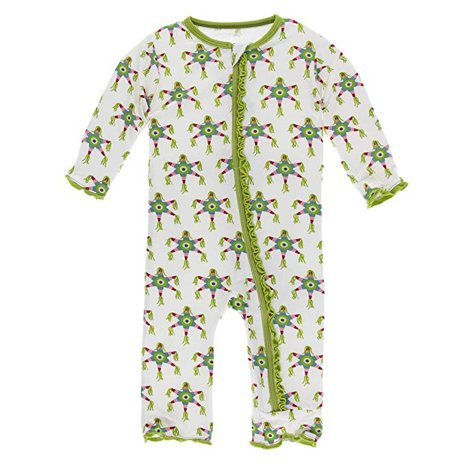 Print Muffin Ruffle Coverall with Zipper Natural Piñata