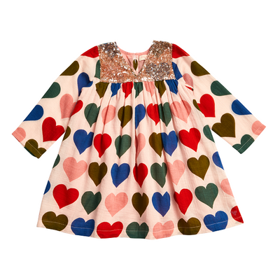 Courtney Dress - Strawberry Cream Multi Hearts