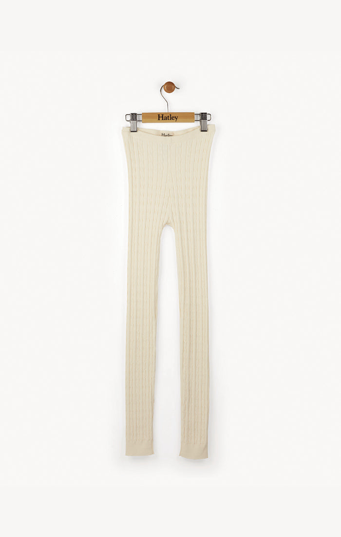 Cream Cable Knit Leggings