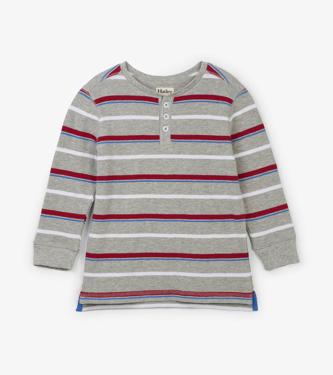 Crimson Stripe Long Sleeve Henley
