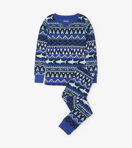 Fair Isle Shark Organic Cotton Pajama Set