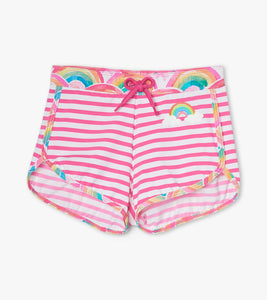 Over the Rainbow Swim Shorts - Carmine Rose