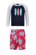Load image into Gallery viewer, Hibiscus Surfboard LS Baby Set