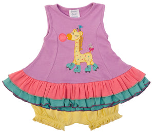 Lil Giraffe Roller Skate Dress Set Violet Tulle