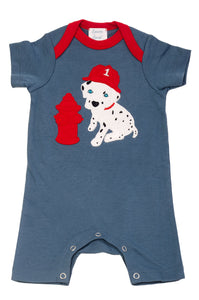Dalmatian Fire Fighter Romper Blue Stone