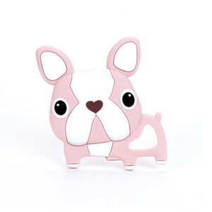 Boston Terrier Silicone Teether Pink - Single