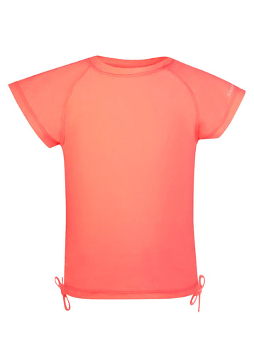 Neon Coral Short Sleeve Rash Top