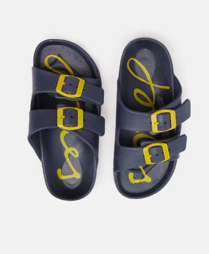 JNR Shore Boys Printed Footbed Slider - French Navy
